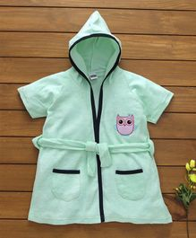 Babyhug Short Sleeves Cotton Hooded Bath Robe Owl Patch - Mint