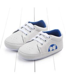 Wow Kiddos Football Print Booties - White & Blue