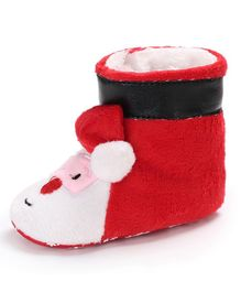 Wow Kiddos Santa Applique Booties - Red