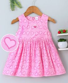 Doreme Sleeveless Frock Allover Heart Print - Pink
