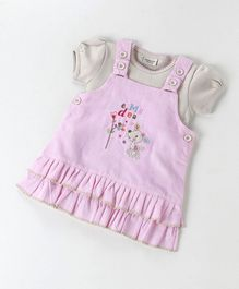 Wonderchild Deer Patch Pinafore Dress With Tee - Pink