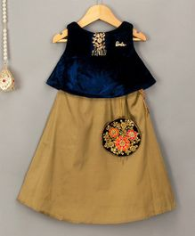 Barbie By Many Frocks & Velvet Choli & Lehenga Set - Navy