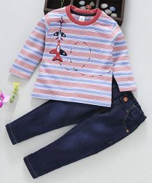 ToffyHouse Full Sleeves Striped T-Shirt & Jeans Aircraft Patch - Light Blue