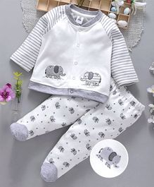 ToffyHouse Full Sleeves Night Suit Elephant Print & Patch - Grey