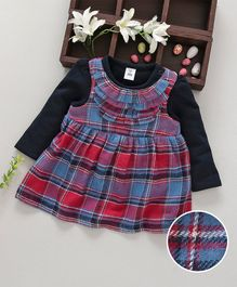 ToffyHouse Sleeveless Checks Frock With Inner Tee - Navy Blue