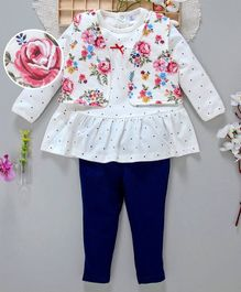 ToffyHouse Full Sleeves Top With Floral Shrug & Leggings - White
