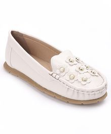 Cute Walk by Babyhug Party Wear Loafer Shoes Floral Motifs - Beige