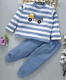 ToffyHouse Full Sleeves Striped Tee & Lounge Pant Truck Print - Blue