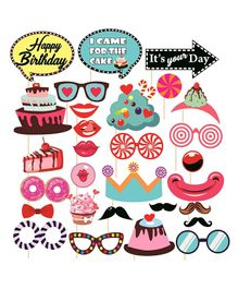 Syga Birthday Photo Booth Party Props Set Multicolour - 29 Pieces