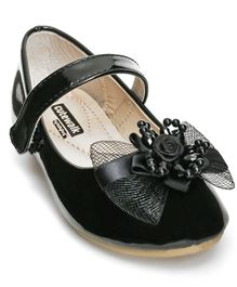 Cute Walk by Babyhug Belly Shoes Embellished Floral Applique - Black
