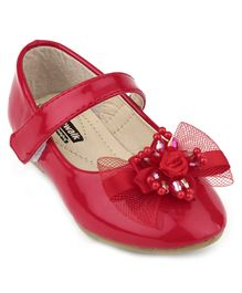 Cute Walk by Babyhug Belly Shoes Embellished Floral Applique - Red