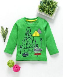 Babyhug Full Sleeves Tee Camping Print - Green