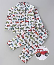 Fido Full Sleeves Night Suit Tractor Print - White Red
