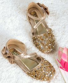 Kidlingss Glitter Bellies With Bow Applique Strap - Golden