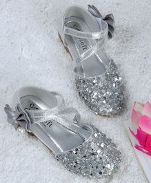 Kidlingss Glitter Bellies With Bow Applique Strap - Silver
