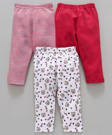 Babyhug Full Length Cotton Lounge Pant Bear & Stripes Print Pack of 3 - Red White