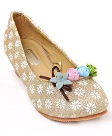 Cute Walk by Babyhug Floral Glitter Bellies - Silver