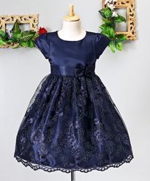 Mark & Mia Floral Work Cap Sleeves Net Dress - Navy