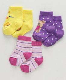 Cute Walk by Babyhug Ankle Length Pack of 3 - Yellow Purple Pink