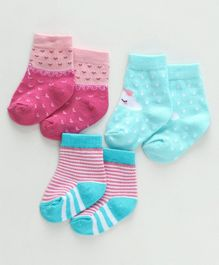 Cute Walk by Babyhug Anti Bacterial Ankle Length Pack of 3 - Pink Sea Green