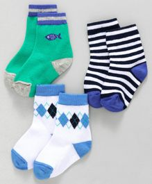 Cute Walk by Babyhug Ankle Length Socks Fish & Diamond Design Pack of 3 - Green White Black
