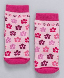 Cute Walk By Babyhug Terry Antibacterial Ankle Length Socks Floral Design - Pink