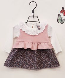 Aww Hunnie Full Sleeves Lacy Neck Frock - Pink