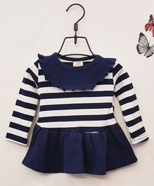 Aww Hunnie Full Sleeves Striped Frock - Navy Blue