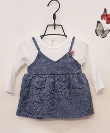 Aww Hunnie Full Sleeves Frock With Lace Detailing - Blue