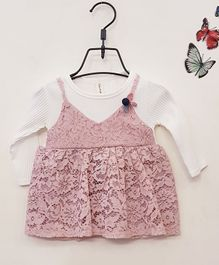 Aww Hunnie Full Sleeves Frock With Lace Detailing - Pink