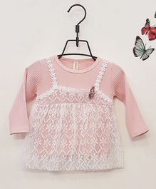 Aww Hunnie Full Sleeves Frock With Lace Detail - Pink