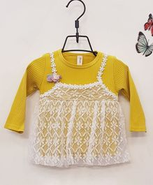 Aww Hunnie Full Sleeves Frock With Lace Detail - Yellow
