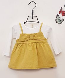 Aww Hunnie Full Sleeves Frock With Bow Applique - Yellow