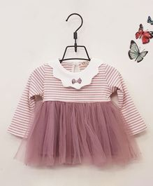 Aww Hunnie Full Sleeves Striped Frock - Pink