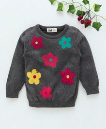Simply Full Sleeves Winter Wear Tee Flower Print - Grey