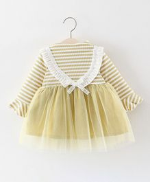 Pre Order - Awabox Striped Full Sleeves Net Dress - Yellow