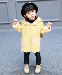 Pre Order - Awabox Solid Full Sleeves Long Coat - Yellow