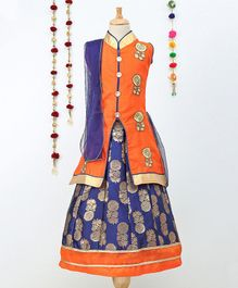 Aarika  Sleeveless Embroidered Long Jacket & Lehenga With Dupatta Set - Orange & Blue