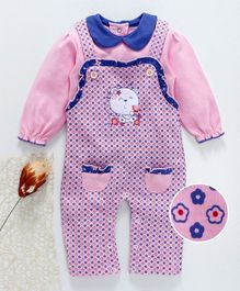 Baby Go Dungaree Romper With Inner Tee Floral Print - Pink Blue