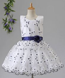 Babyhug Sleeveless Jacquard Floral Embroidered Party Wear Frock - White Navy Blue