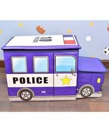 Quirky Monkey Blue Police Car Foldable Storage Box - Blue