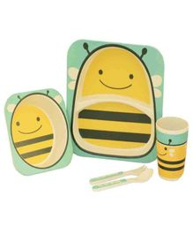 Quirky Monkey Bees Theme Dinner Set Of 5 - Yellow & Sea Green