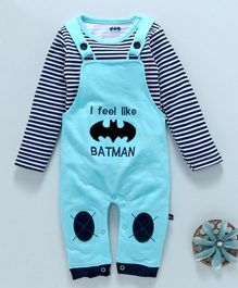 Mom's Love Dungaree Romper With Striped Tee Batman Embroidered Patch - Aqua Blue