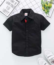 Babyhug Half Sleeves Solid Shirt - Black