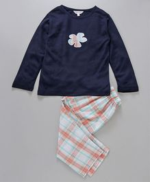 Funkrafts Flower Applique Checked Night Suit - Navy