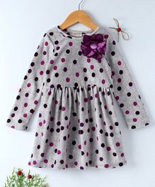 Crayonflakes Polka Dot Print Flower Applique Dress - Grey