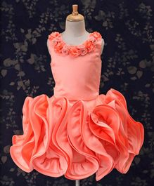 Bluebell Sleeveless Party Wear Frock Rose Flared Dress - Peach