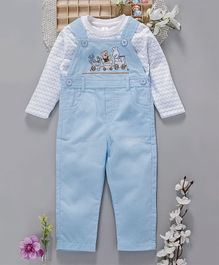 ToffyHouse Embroidered Corduroy Dungaree With Full Sleeves T-Shirt - Blue