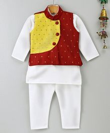 Bownbee Solid Kurta And Printed Jacket With Full Length Pajama Set - Maroon