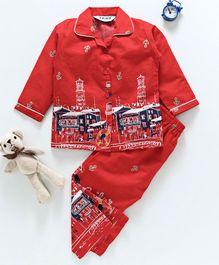Enfance Anchors & Buildings Printed Full Sleeves Night Suit - Red